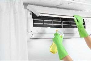 hand cleaning ductless AC