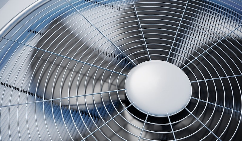Close up view on HVAC units (heating, ventilation and air conditioning). 3D rendered illustration.